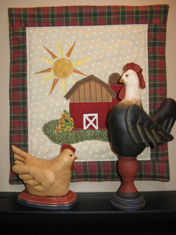 Rise and Shine - Cloth Doll E-Pattern Rooster Hen & Quilt Display Epattern