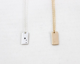 Mini Rectangle Necklace • Personalized Vertical Rectangle Necklace in 14k Gold Filled or Sterling Silver