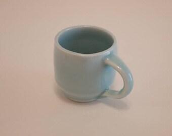 Celadon blue espresso mug // porcelain mug