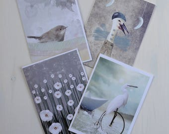 Set of Cards-postcards-illustrated original prints. Greeting cards with Envelope