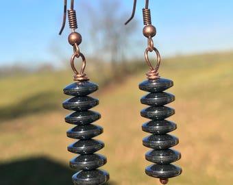 Black circle earrings, black dangle earrings, minimalist earrings, black bead earrings, modern earrrings, circle earrings, handmade earrings
