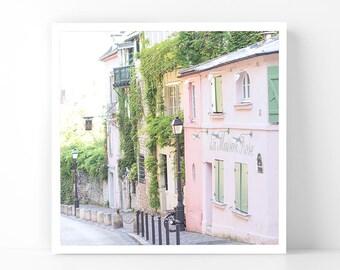 Paris Photography - Pink Street in Montmartre, 5x5 Paris Fine Art Photograph, French Home Decor, Wall Art, Paris Gallery Wall