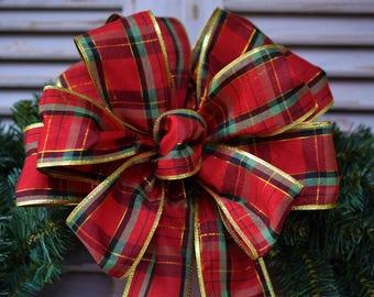 Christmas Plaid Bow, Red Plaid Bow, Christmas Bow, Wreath Bow, Lantern Bow, Basket Bow, Gift Bow, Swag Bow, Decorative Bow, Tree Bow