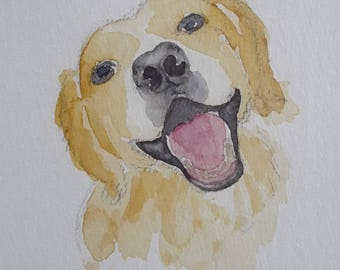 Smiling dog pet portrait original painting watercolour ready framed and mounted original dog portrait Labrador