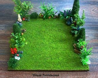 Diorama.Front garden. Doll miniature. Scale 1:12
