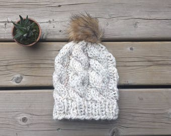 Chunky Knit hat, winter knit hat, cables knit hat, adult knit hat, faux fur pom pom hat, winter hat wor women