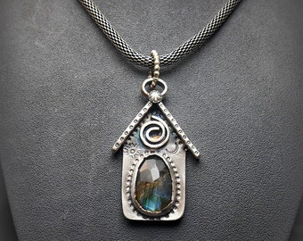 Sterling Silver Tiny House or Birdhouse Pendant with Rosecut Faceted Labradorite Stone