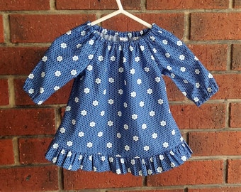 Baby or toddler girl navy peasant dress // toddler ruffled dress//short or long sleeves // size 3 6 12 18 24 mths, 2-3 years, 4-5 yrs