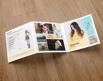 Square Trifold Photography Brochure Template   Brochure for Professional Photographers   Photoshop & Elements Template   Instant Download