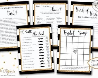 INSTANT DOWNLOAD - Black Stripe BRIDAL Games Package - Printable Bridal Shower Games - Bridal Game Pack - Glitter - 0152 - 0153 - 0124