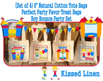 Fun Bounce House Jump Play Birthday Party Treat Favor Gift Bags Mini Cotton Totes Children Kids Girls Boys -  Set of 4