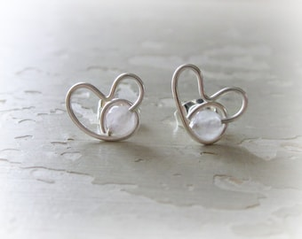 Rose Quartz Studs, Heart Earrings, Rose Quartz Earrings, Sterling Heart Studs, Hypoallergenic, Rose Quartz Posts, Small Stud Earrings