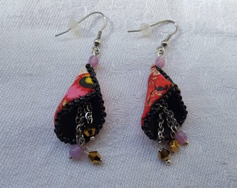 "Earrings ""bells"" Bohemian bead embroidery, black gold red fabric"