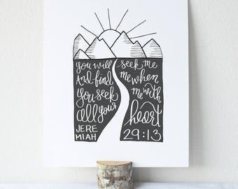 Jeremiah 29:13 Printable Bible Verse Art Print 8x10 Digital Wall Art Gift