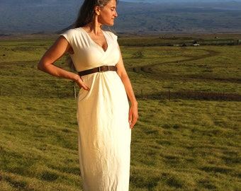 Rustic Wedding Dress - Maxi Dress - Cap Sleeve - Organic Cotton Hemp Jersey - Natural Creme Color