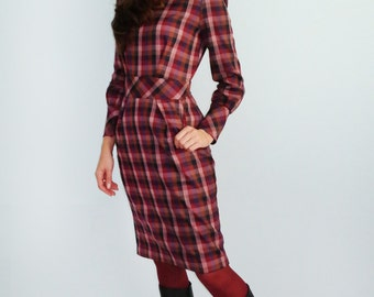 Women's  plaid dress  Warm dress Burgundy Marsala Red dress with long sleeves