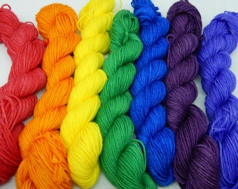 Rainbow in a bag Sock Weight Minis 75/25% Superwash Merino/Nylon 7x80m per 20g Repeatable Colourway Gradient Set