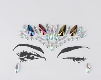 Festival Face Jewels | Multi-Color Holographic Face & Body Jewels Sticker For Festival, Rave, EDC, Coachella | Rave Festival Face Stickers