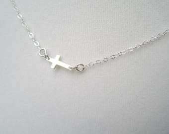 Sterling Silver Sideways Cross Necklace, Tiny Silver Cross Necklace, Religious Jewelry, Spiritual Necklace, Confirmation, First Communion