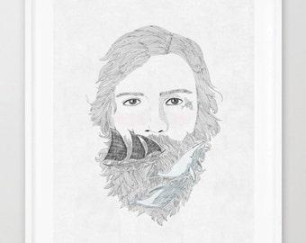 sailor,line art, print of orginal drawing