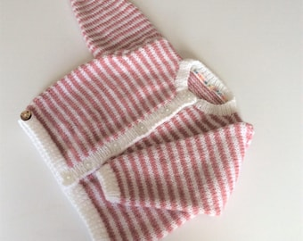 Handknitted baby girl's cardigan, striped baby cardigan, 6 - 12 months, pink and white striped baby cardigan, long sleeve cardigan, one only