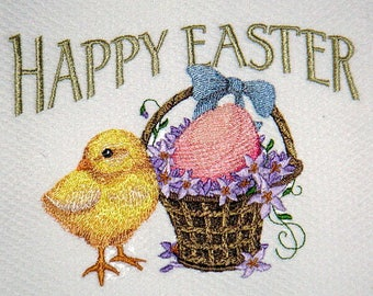 Happy Easter Vintage Easter Chick Embroidered Kitchen Towel
