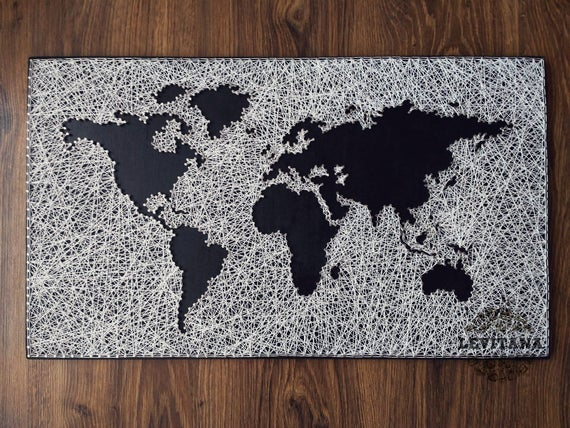 String art world map large world map travel map wood gumiabroncs Gallery