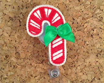 Christmas Badge Reel, Candy Cane, Badge Pull, Retractable Badge Holder, Id Holder, Nurse Gift, Teacher Gift, Holiday Badge Reel, 105