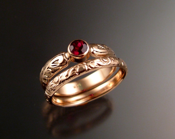 Garnet Wedding two ring set 14k rose Gold Victorian bezel set stone wedding rings made to order in your size