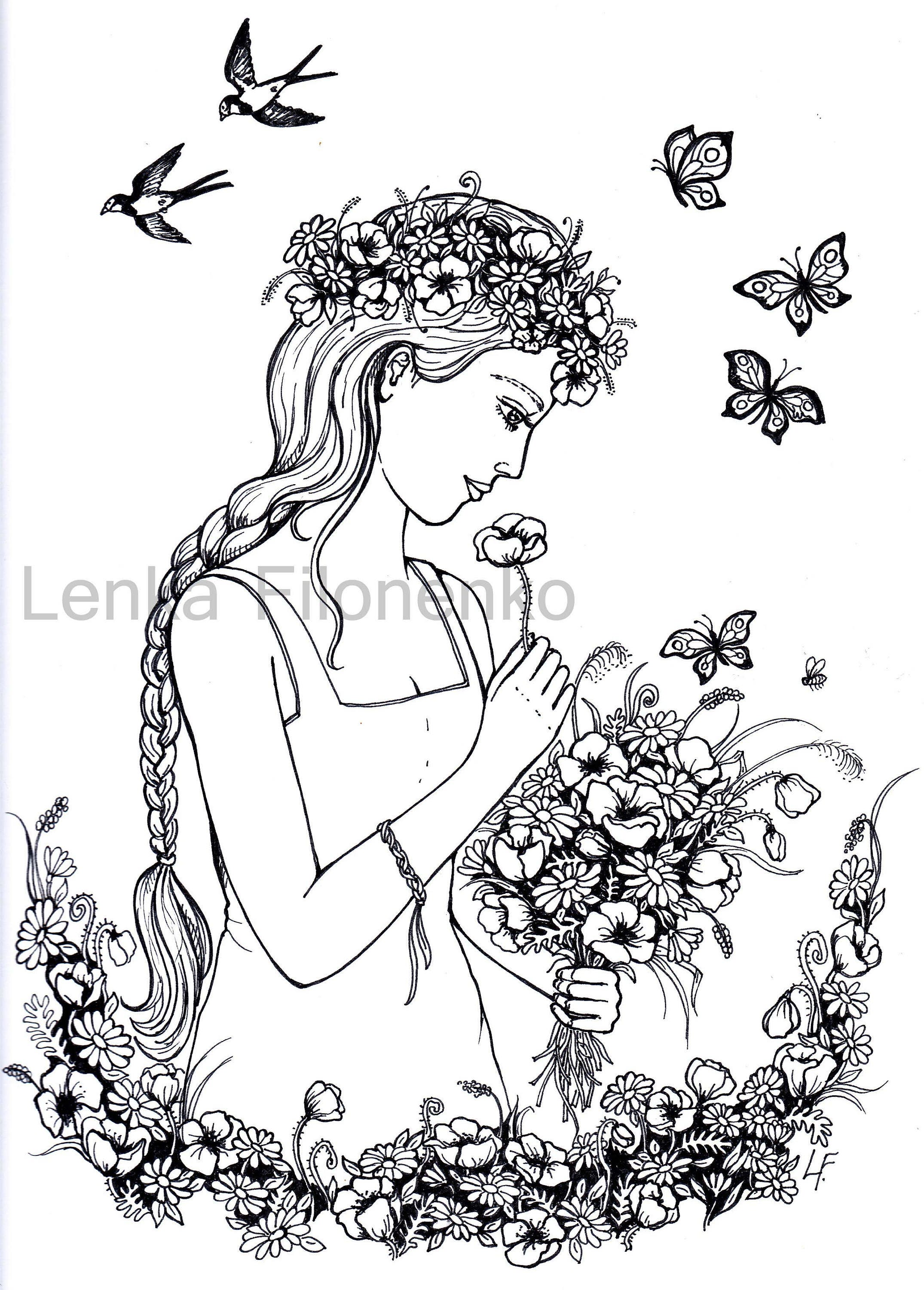Coloring page Woman with Flowers Adult Coloring pages Art