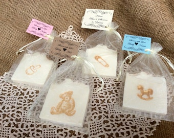30 Gold Accented, Baby Shower Soap Favors - 30 custom baby favors for baby shower
