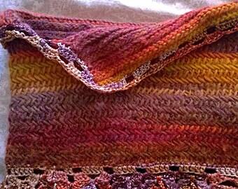 Herringbone cowl, handcrafted wool scarf