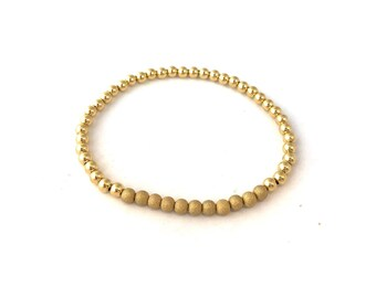 Delicate Gold Bead Stretch Bracelet w/Stardust Beads