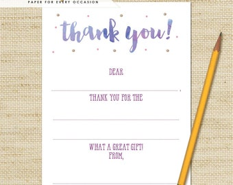 Girls Thank You Cards -  Birthday Fill in the Blank Thank You Cards and Matching Envelopes, Art Party Thank You Cards, FREE SHIPPING