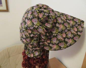 Women's Pioneer Prairie Victorian Civil War Bonnet Sunbonnet Primitive. Black and Pink Floral