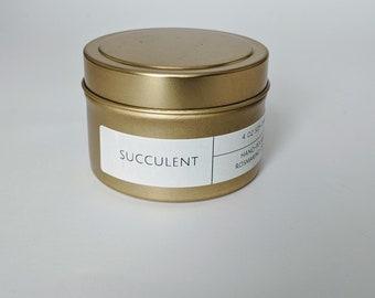 Succulent 4 oz Gold Tin Candle