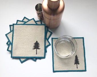 Evergreen Tree Cocktail Napkin Set of Six-Pacific Northwest-Handmade in Seattle- 100% cotton cloth coaster, Holiday Hostess Gift