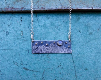 Eclipse Full Moon and Stars Over the Tetons Sterling & Moonstone Necklace