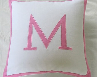 PERSONALIZED PILLOW Monogram pillow Initial pillow, Alphabet pillow Nursery Decor Custom Made Pillow Cover.