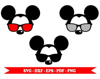 Mickey mouse with svg sunglasses, Mickey head face, clip art in digital format svg, eps, dxf, png, pdf. For Cricut, Silhouette Cameo, vinyl