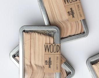 Tin Of Mini Spoons - Wooden Utensils