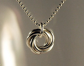 Mobius Charm Necklace, Sterling Silver Chain Maille, a Crescent Maille Original - No Shipping Fees