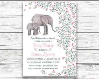 Elephant Baby Shower Invitation Boy Elephant Invitation Boho