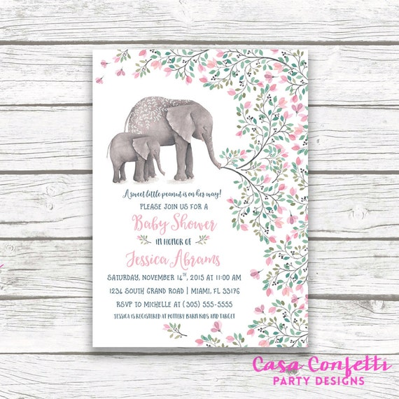 Pink Elephant Baby Shower Invitation Boho Baby Shower