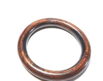 25% OFF SALE Dark Brown Wood Bangle Large Round Vintage Bracelet