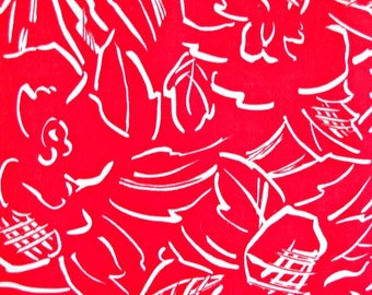 Red Roses Fabric, 100 Percent Cotton, 1 yard cut