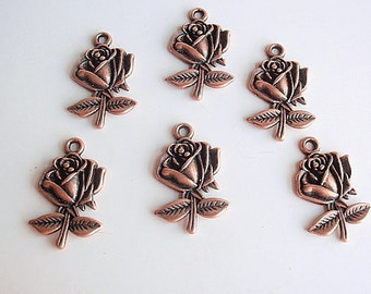 12 Antique Red Copper Pendant / Charms, Jewelry Making Supply,