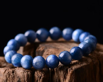 Genuine Blue Kyanite Bracelet 8mm AAA Grade, Natural Round Kyanite Bracelet Gemstone Jewelry Healing Stones