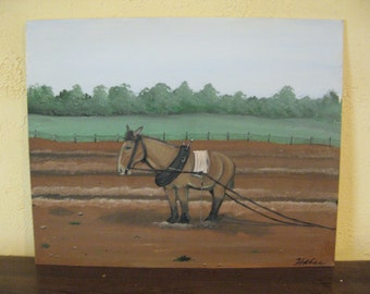 mule painting Farmhouse Decor Farmhouse Art Farmhouse Wall Decor rustic art plowing painting