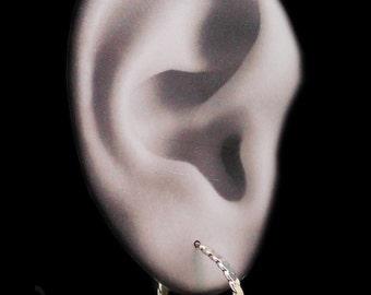 Sterling Silver Hoop Earrings Metalwork Flat Twist Posts Open Hoops Oxidized H0009 by Robin Delargy by Robin Taylor Delargy RTD